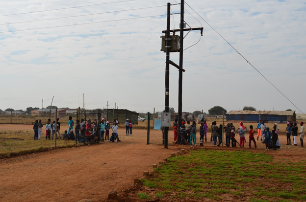 Learners gathered in front of PureMadi gate for Water Day