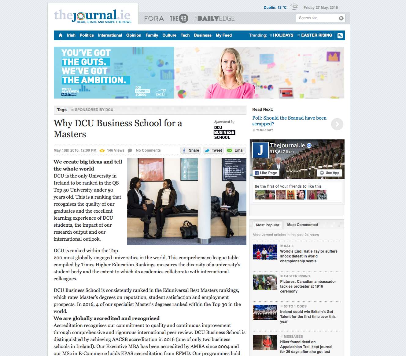 Visual Banner created for native article content on the journal.ie
