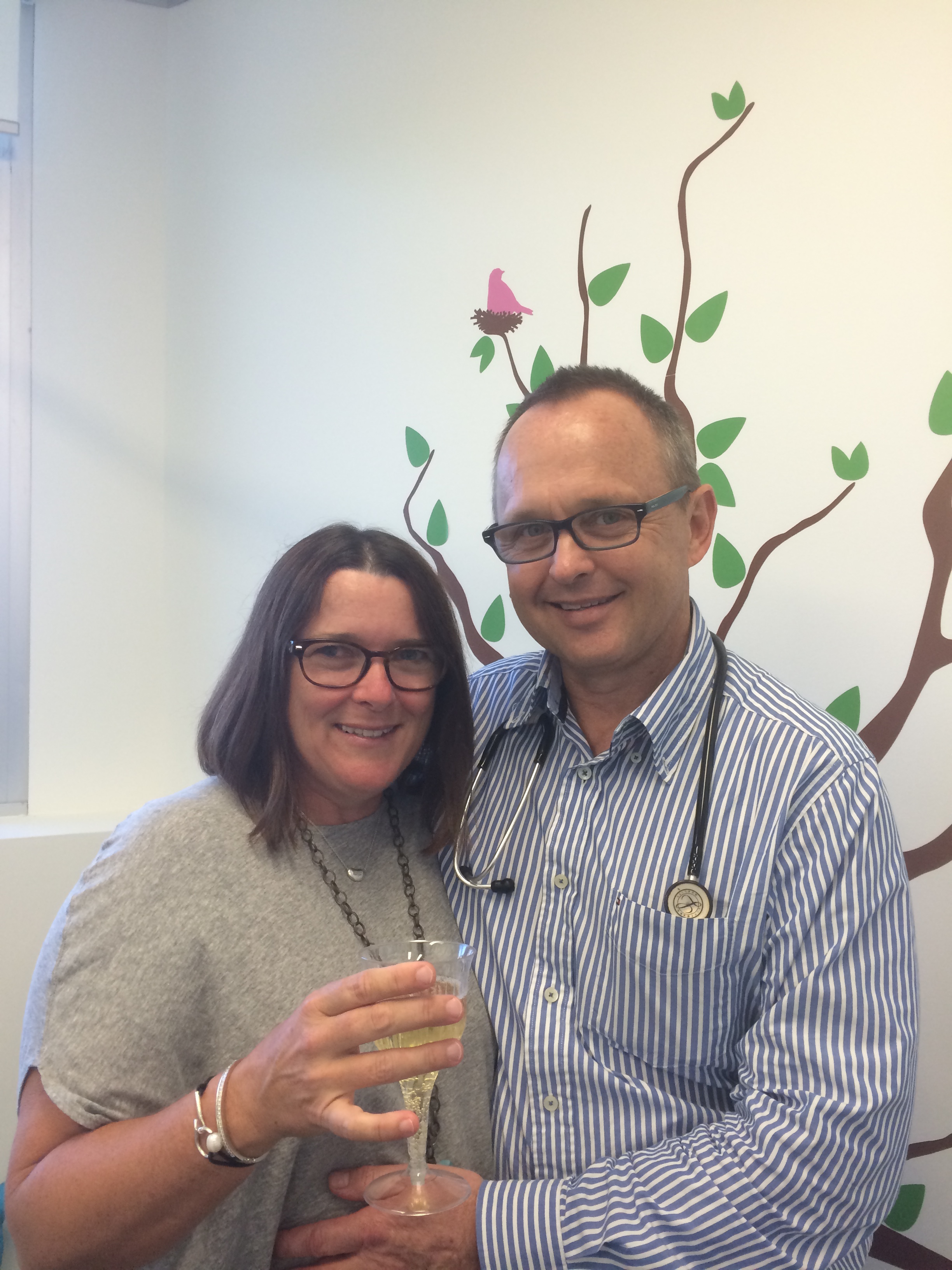 Dr Harte and his wife Anne celebrate Glenn's 20 years in paediatrics