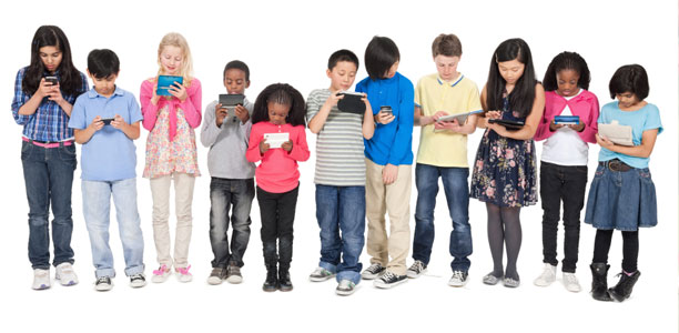 kids with devices