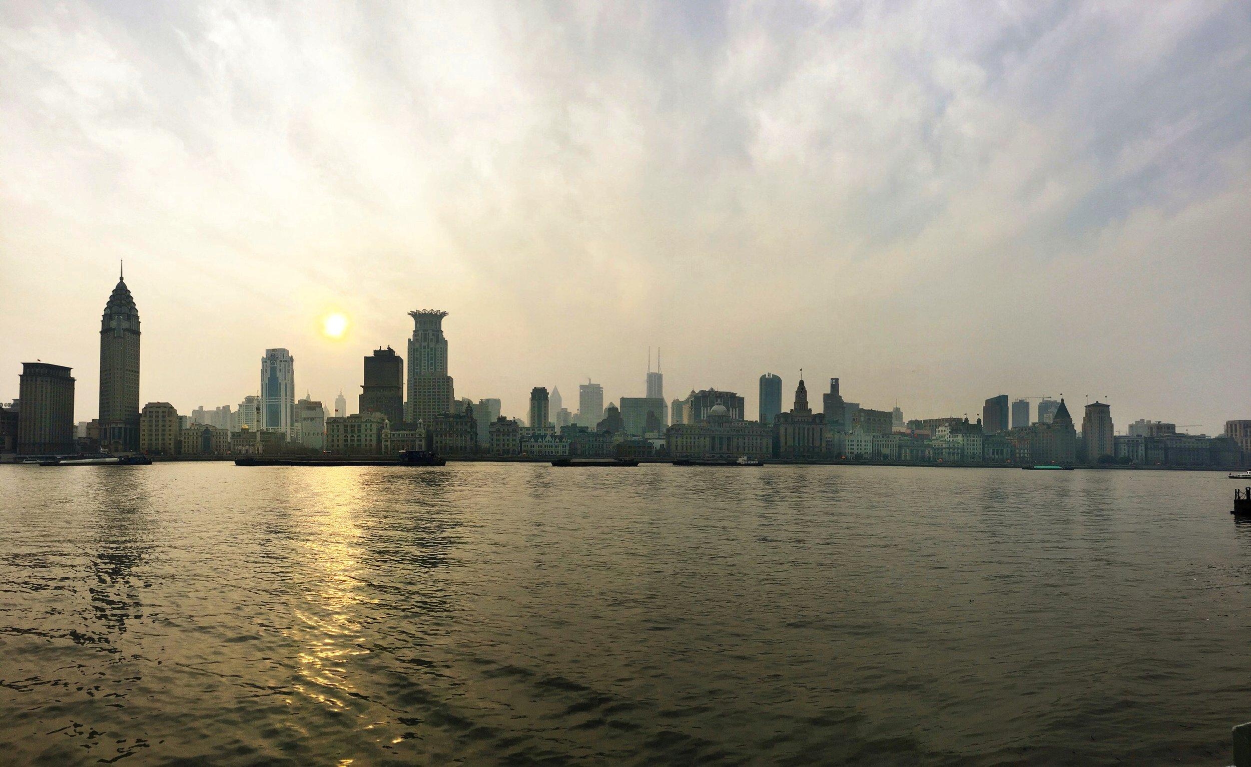 Vista do Bund a partir do calçadão da Av Binjiang