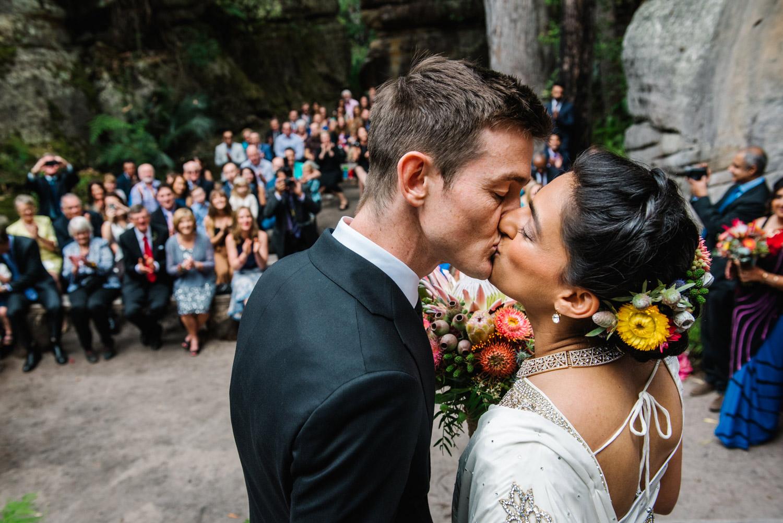 The first kiss at Kangaroo Valley Bush Retreat