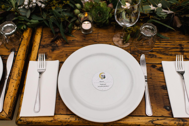 Dinner setting for wedding at Kangaroo Valley