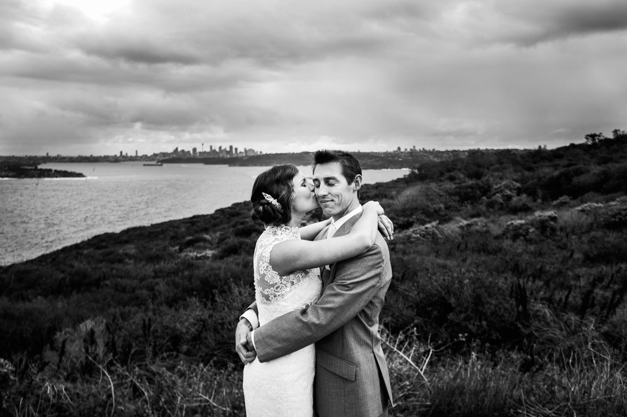 Bride and groom on lookout at North Head Manly