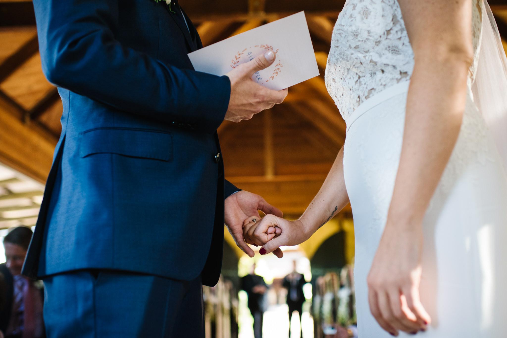 Bride and groom detail