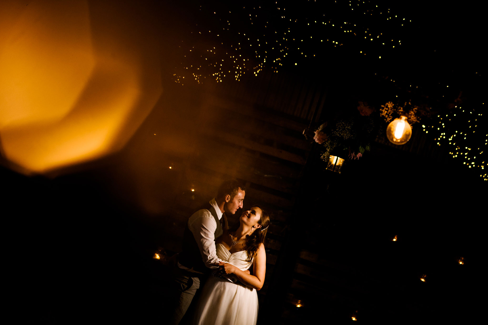 Evening portrait of bride and groom at their Greenfield Farm Estate wedding reception