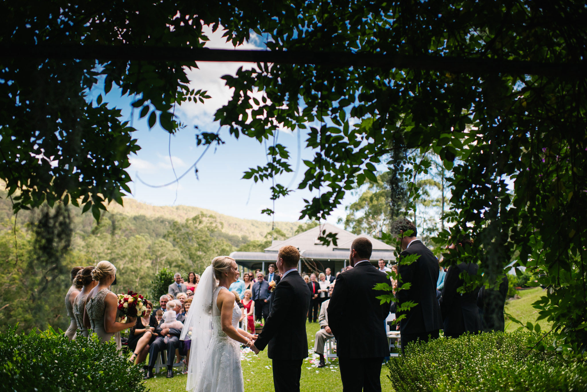 View of hills from garden ceremony