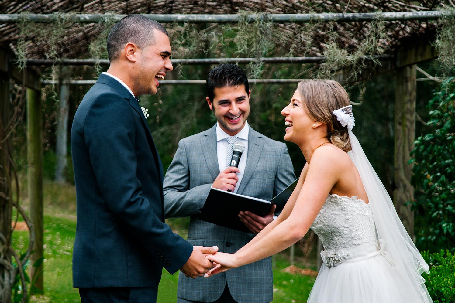 Greenfield Farm - happy bride and groom during wedding ceremony