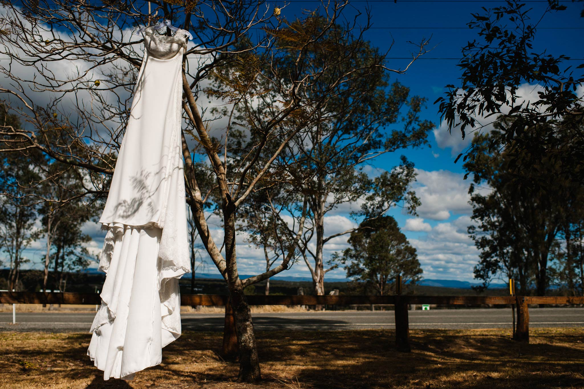 Bridal gown hanging on tree with country view
