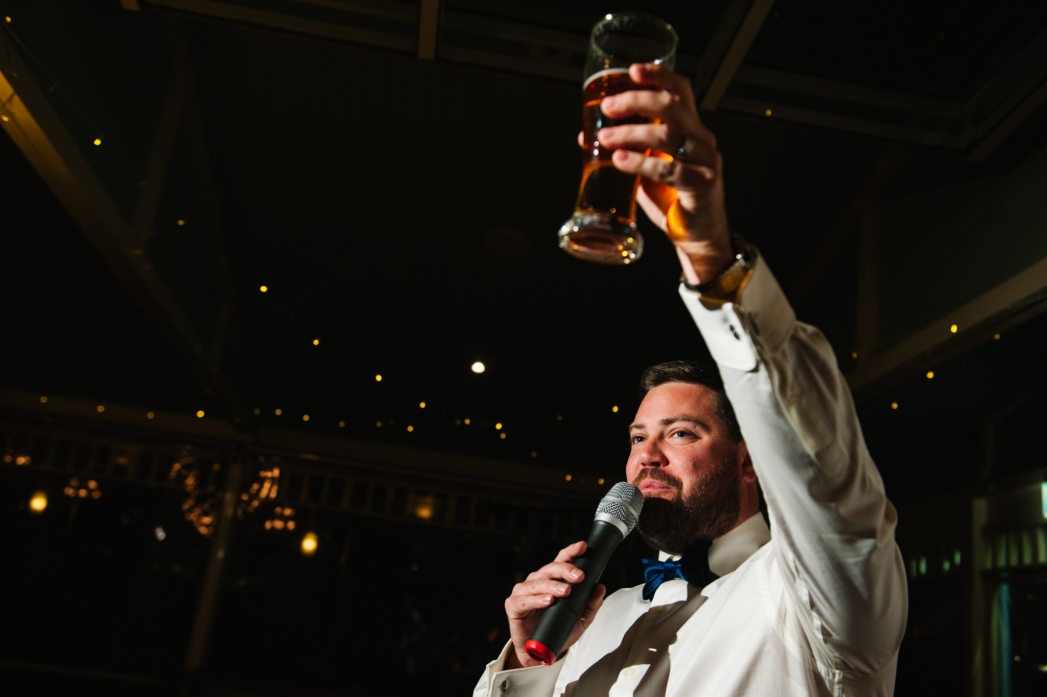 Groom toasting to his new bride