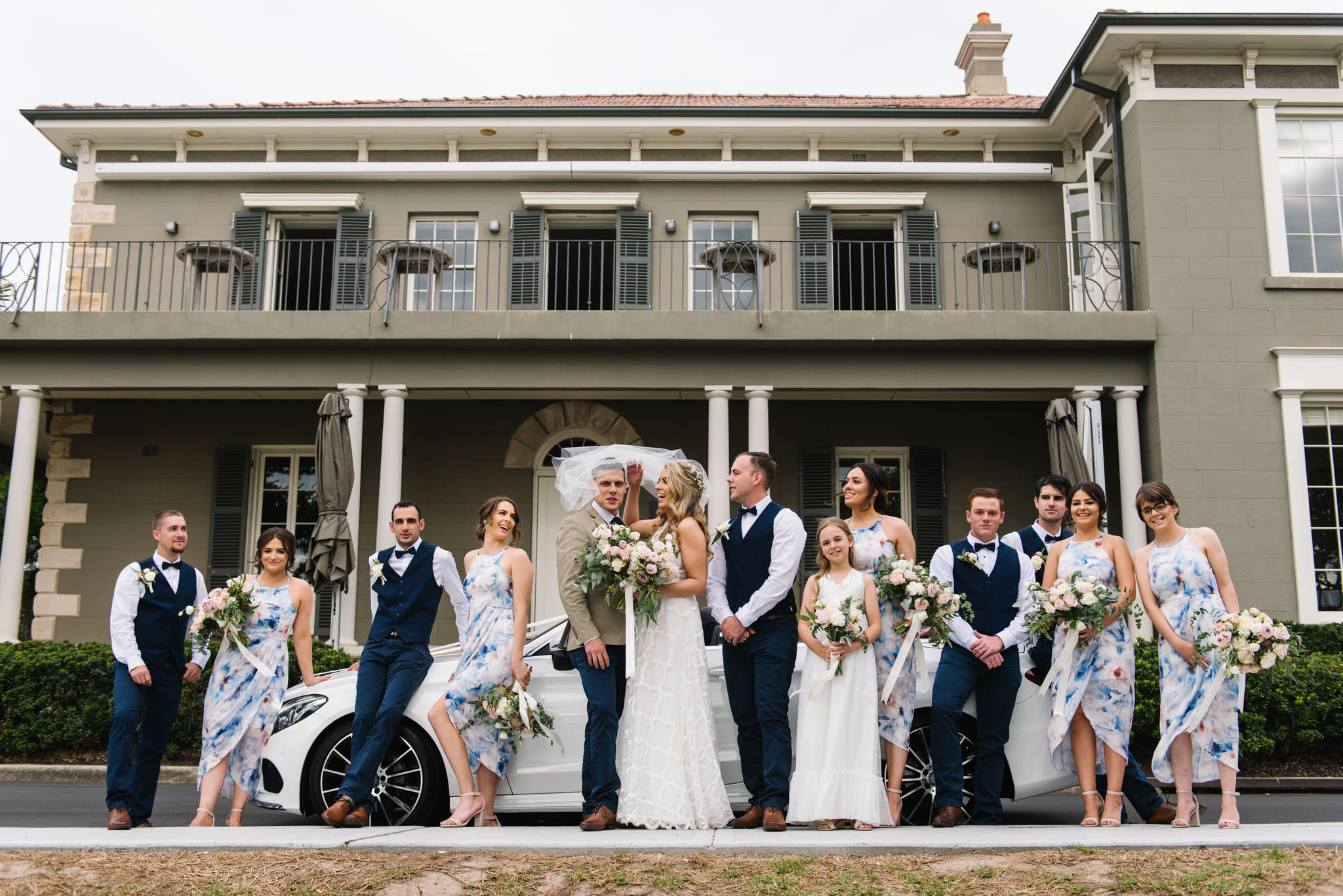 Bridal party in front of Dunbar House, Watsons Bay