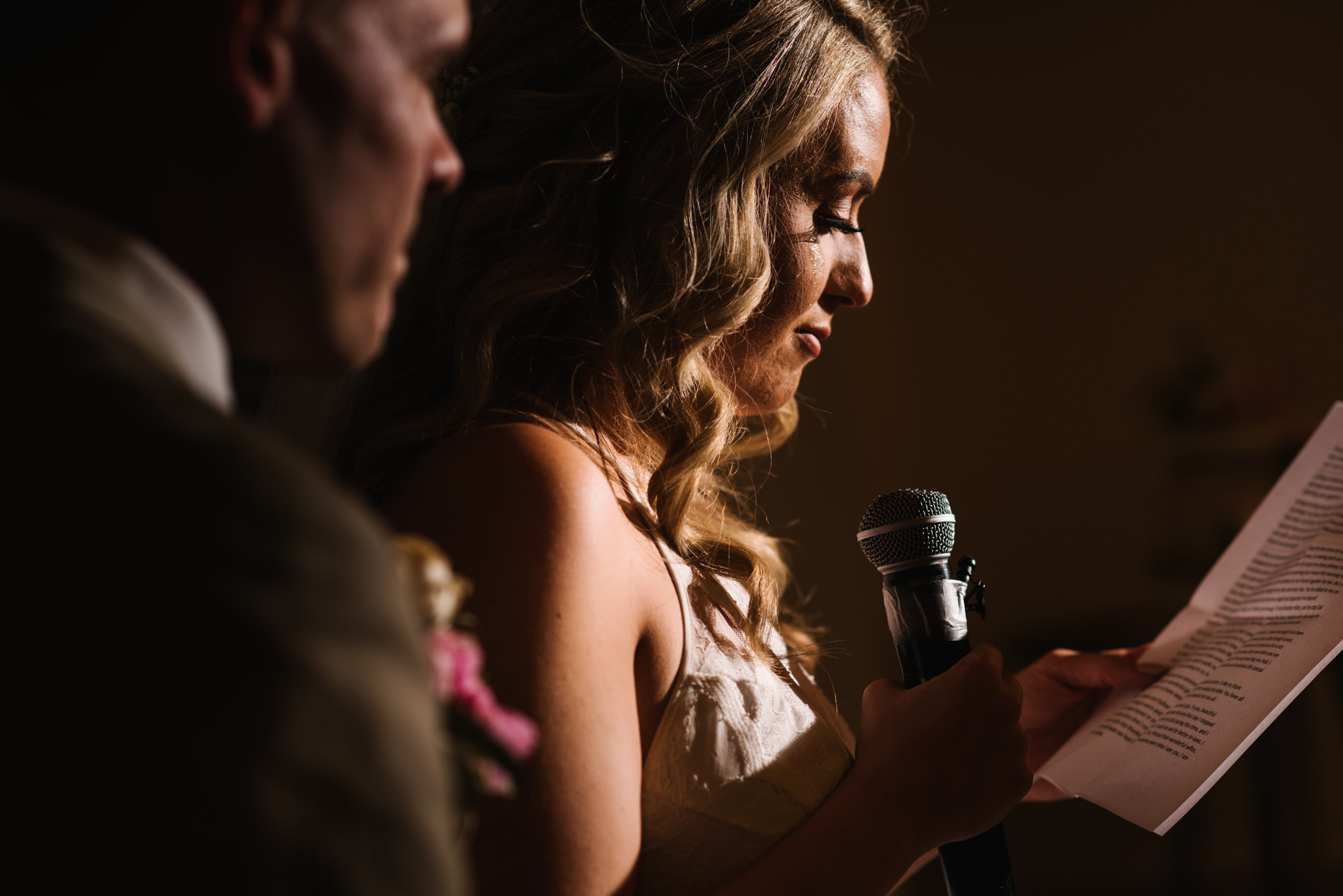 Bride crying during her wedding speech