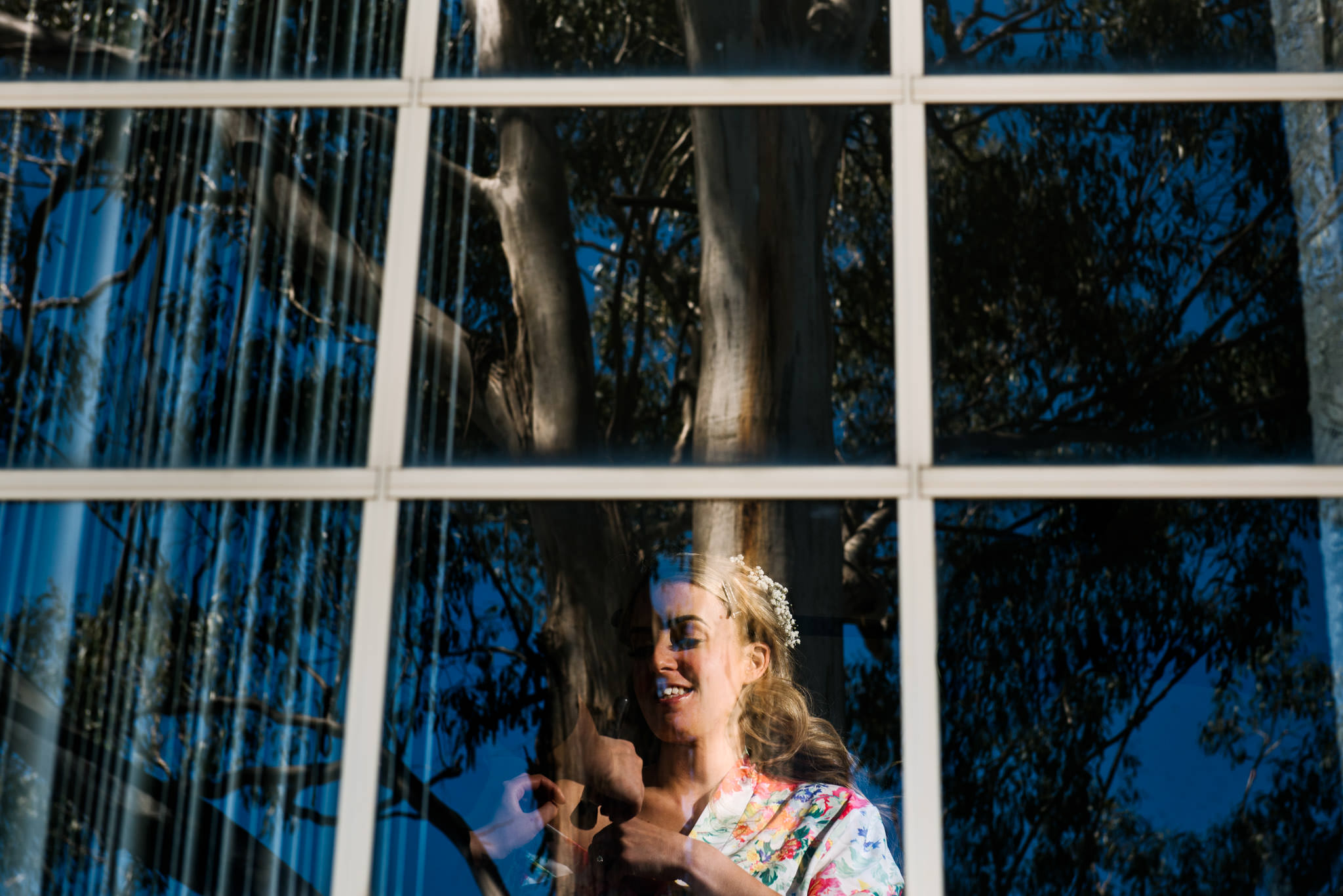 Bride gets ready at family home