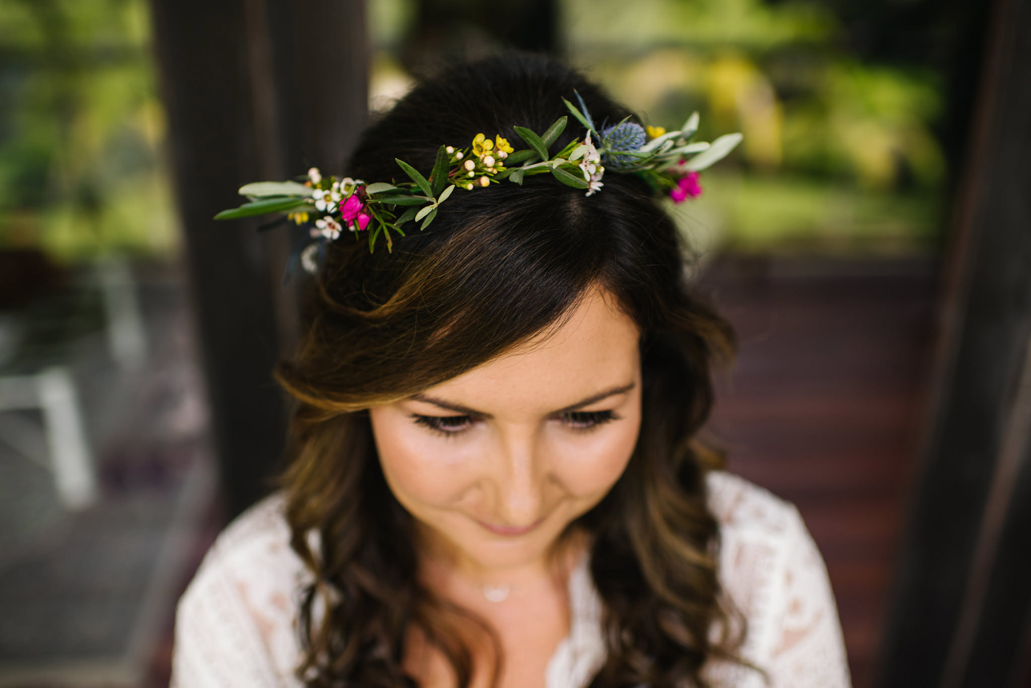 Floral wreath on bride's head