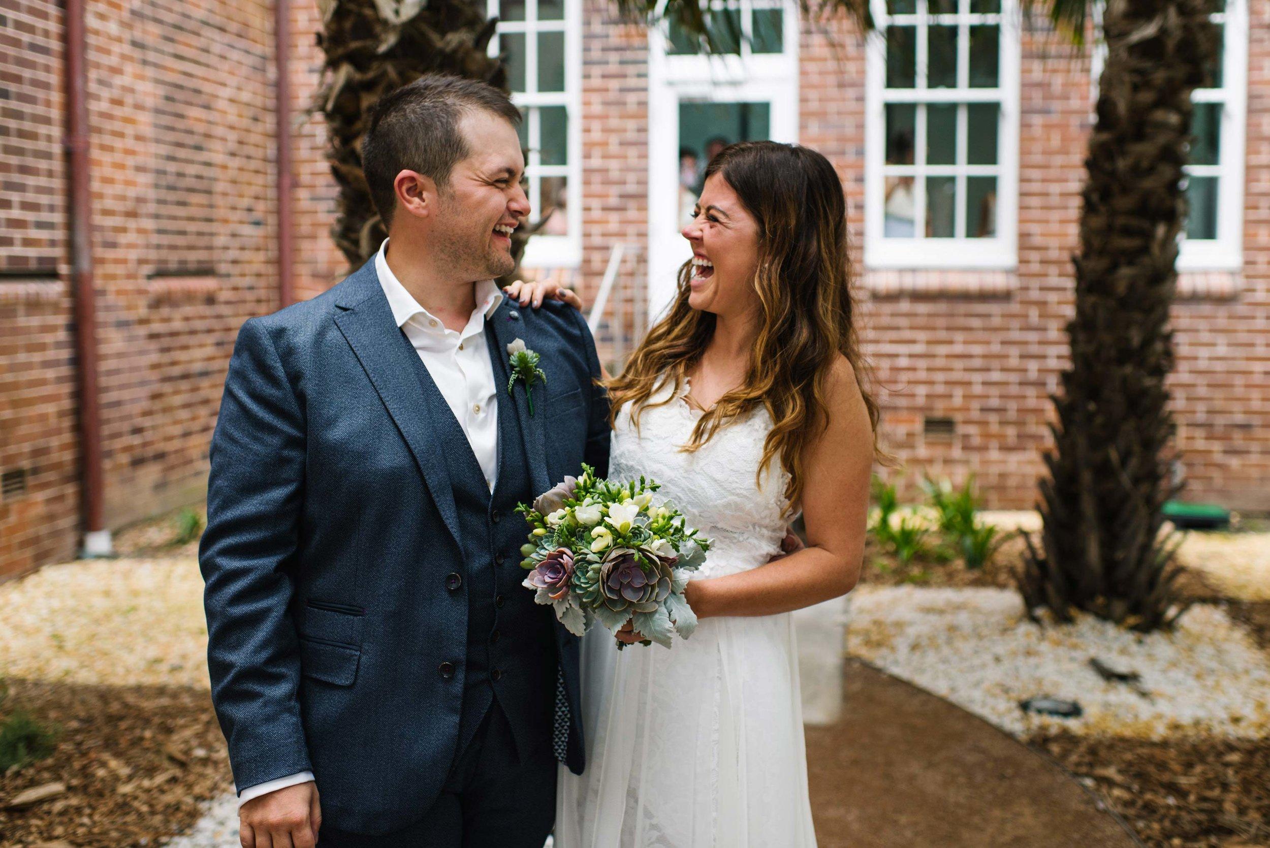Happy bride and groom at first look before Nurses War Memorial Chapel ceremony