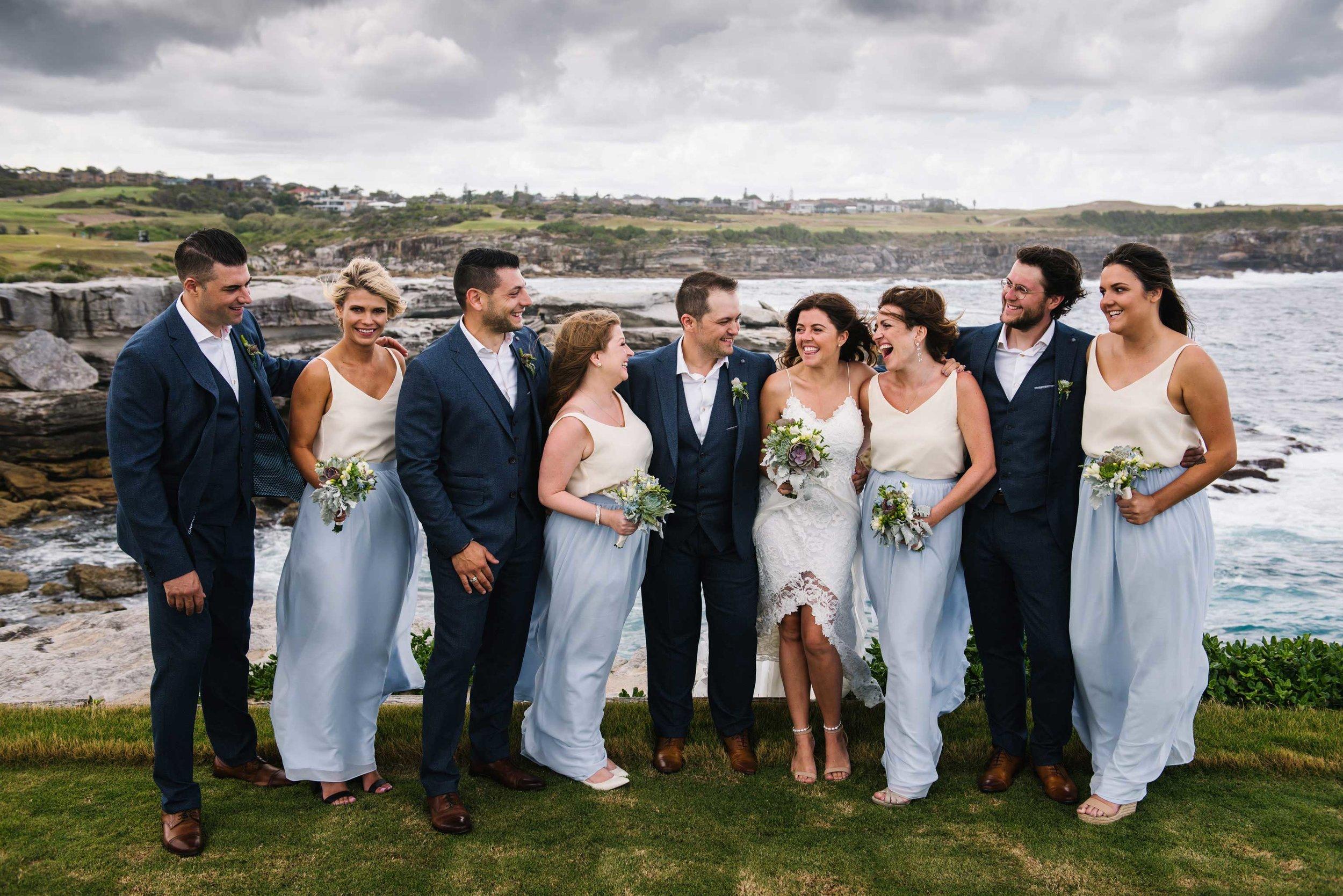 Fun bridal party portrait before Little Bay wedding