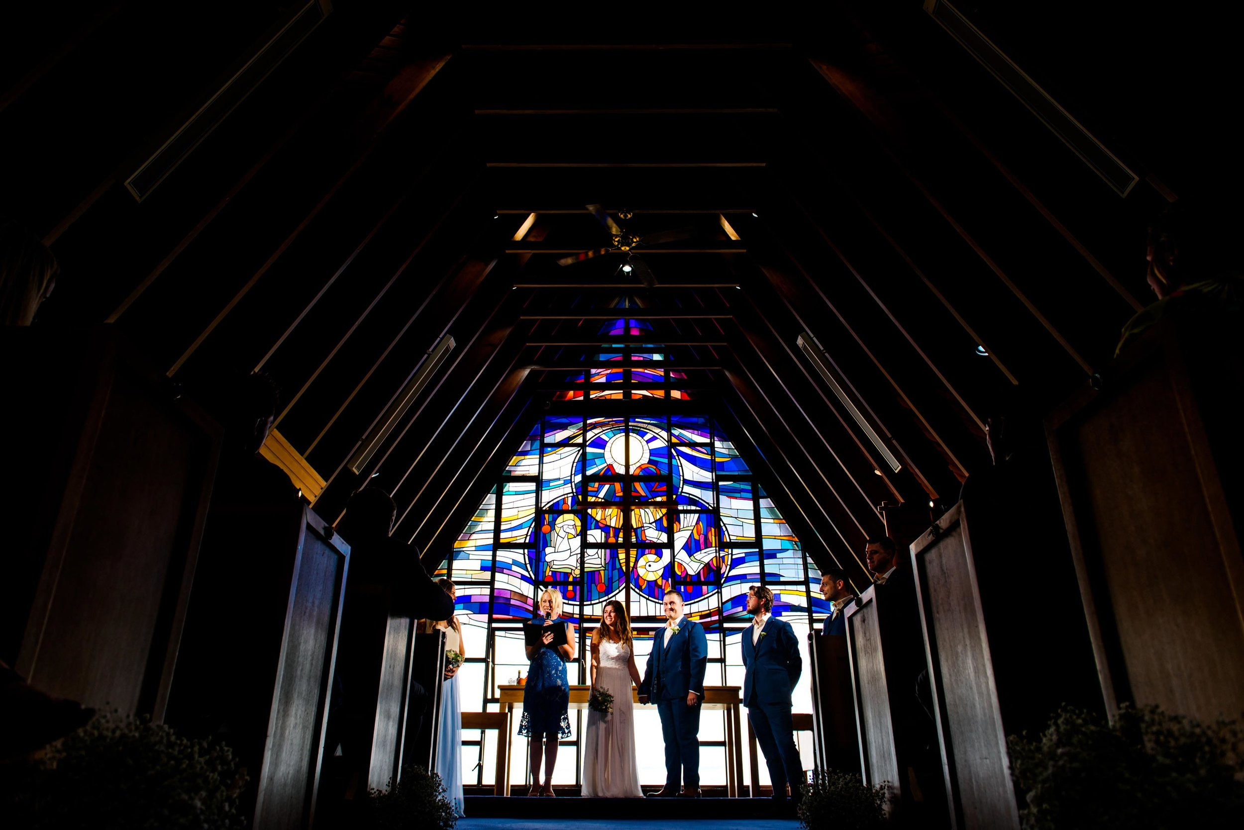 Beautiful stained glass windows at Nurses War Memorial Chapel ceremony