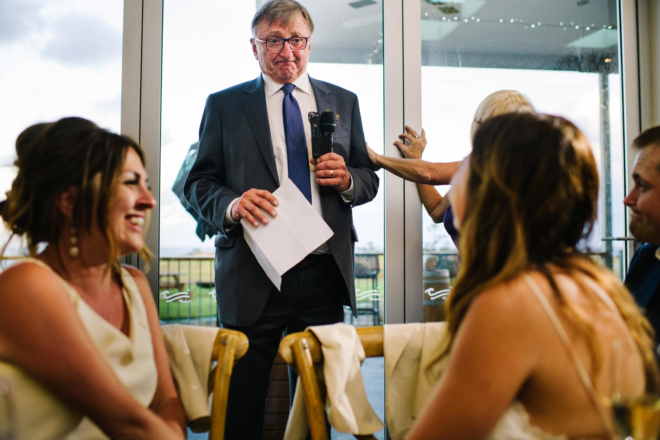 Father of the groom getting emotional during wedding speeches