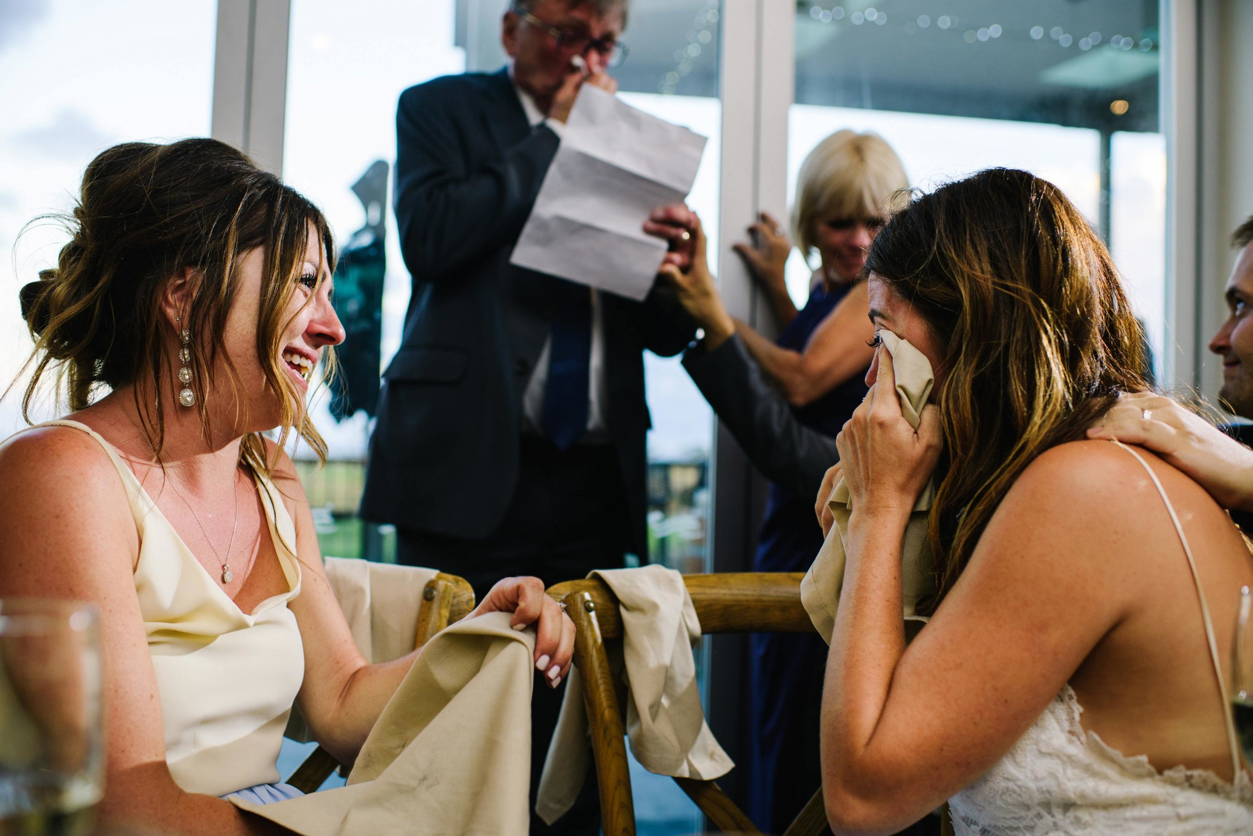 Bride and sister crying during speeches