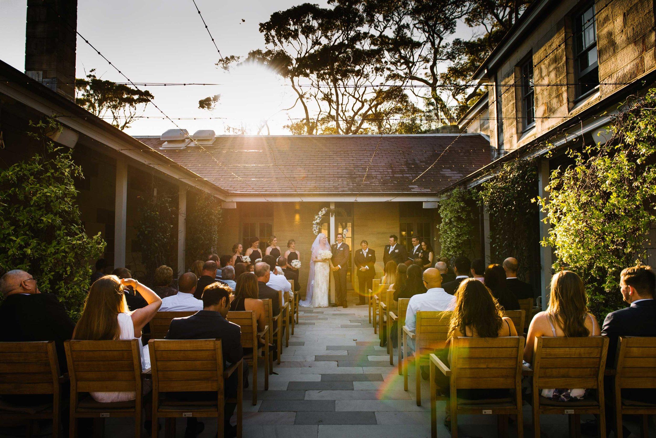Wedding ceremony in courtyard at Gunners Barracks, Mosman