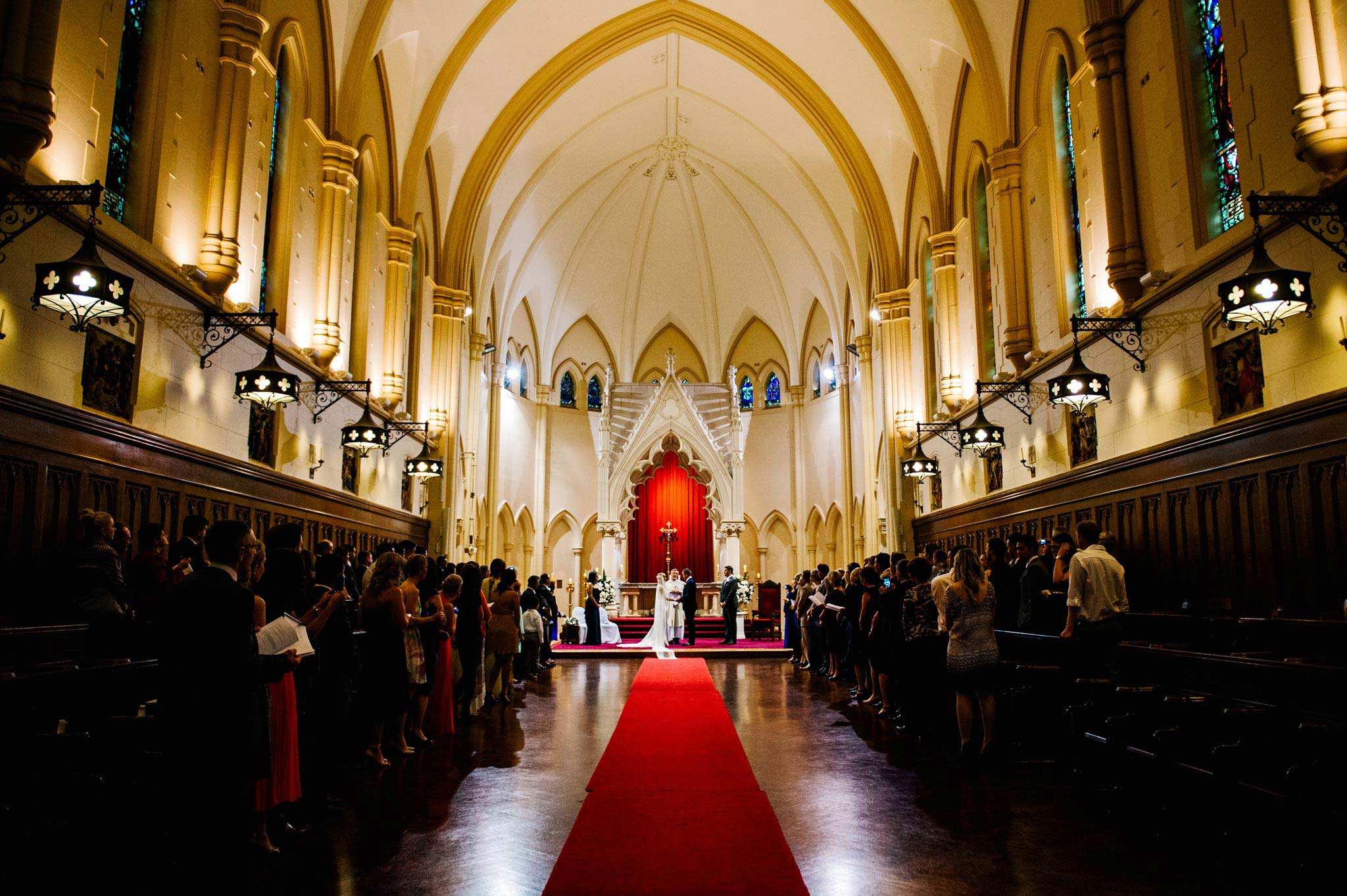 Wedding service in Cardinal Cerretti Memorial Chapel Manly
