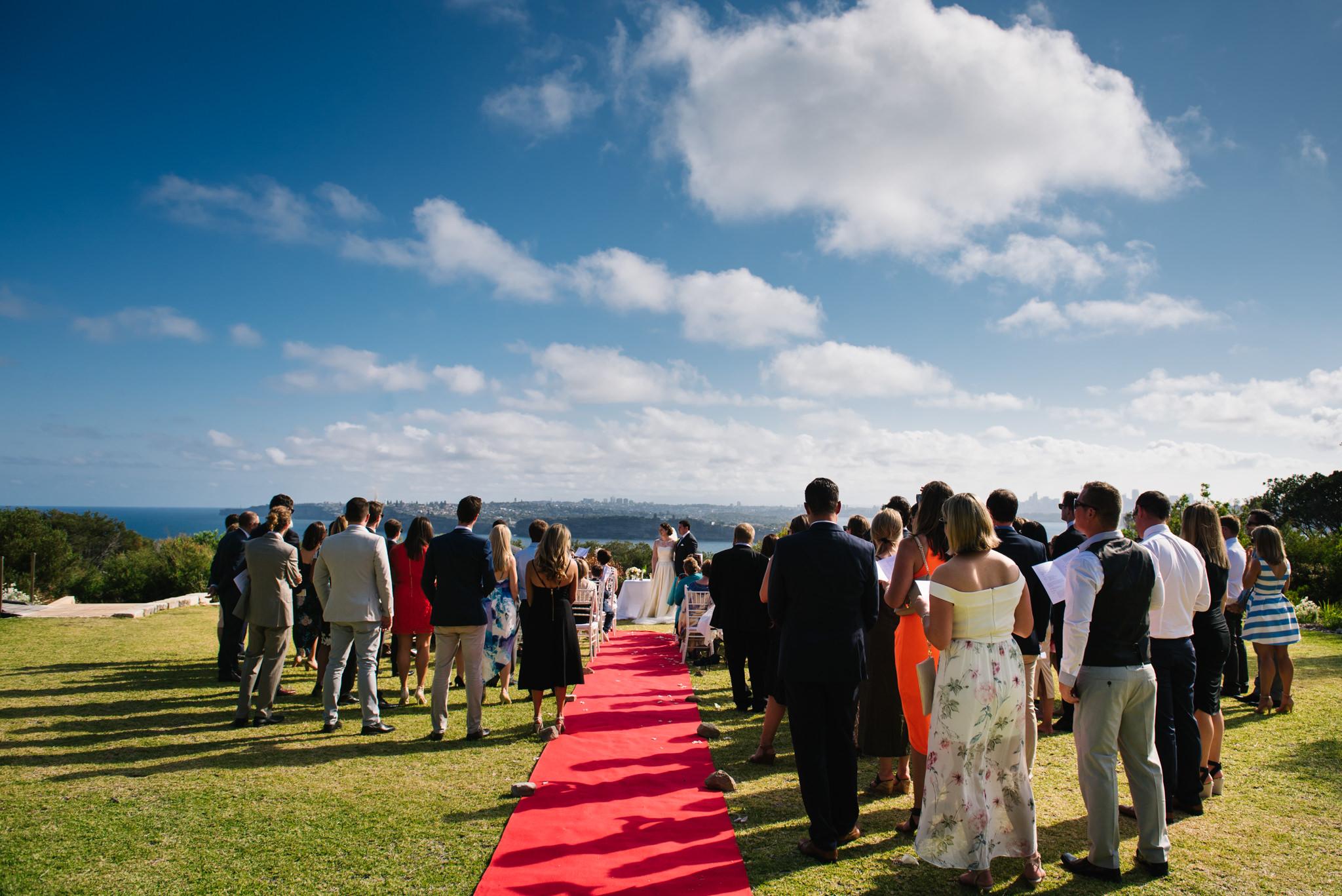 Wedding ceremony on headland at North Head