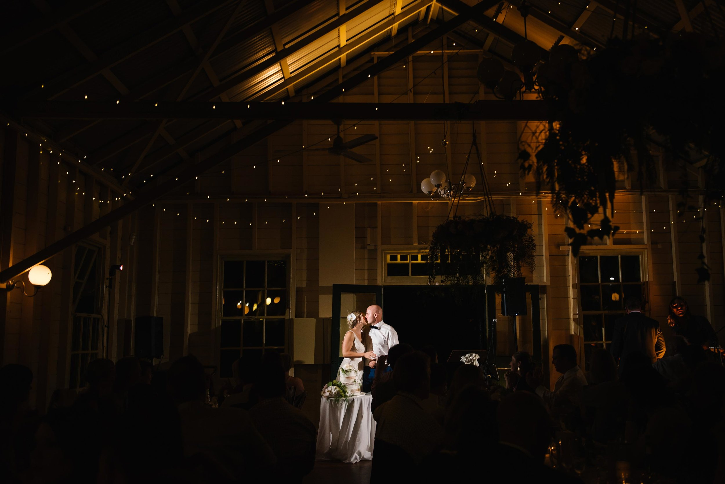 Newlyweds cut the cake at Athol Hall, Mosman wedding