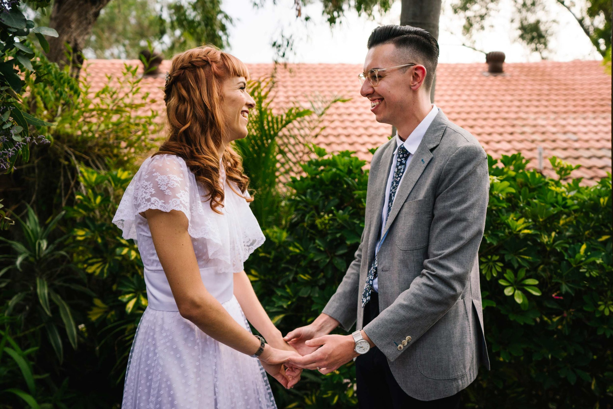 Newlyweds at hipster wedding ceremony