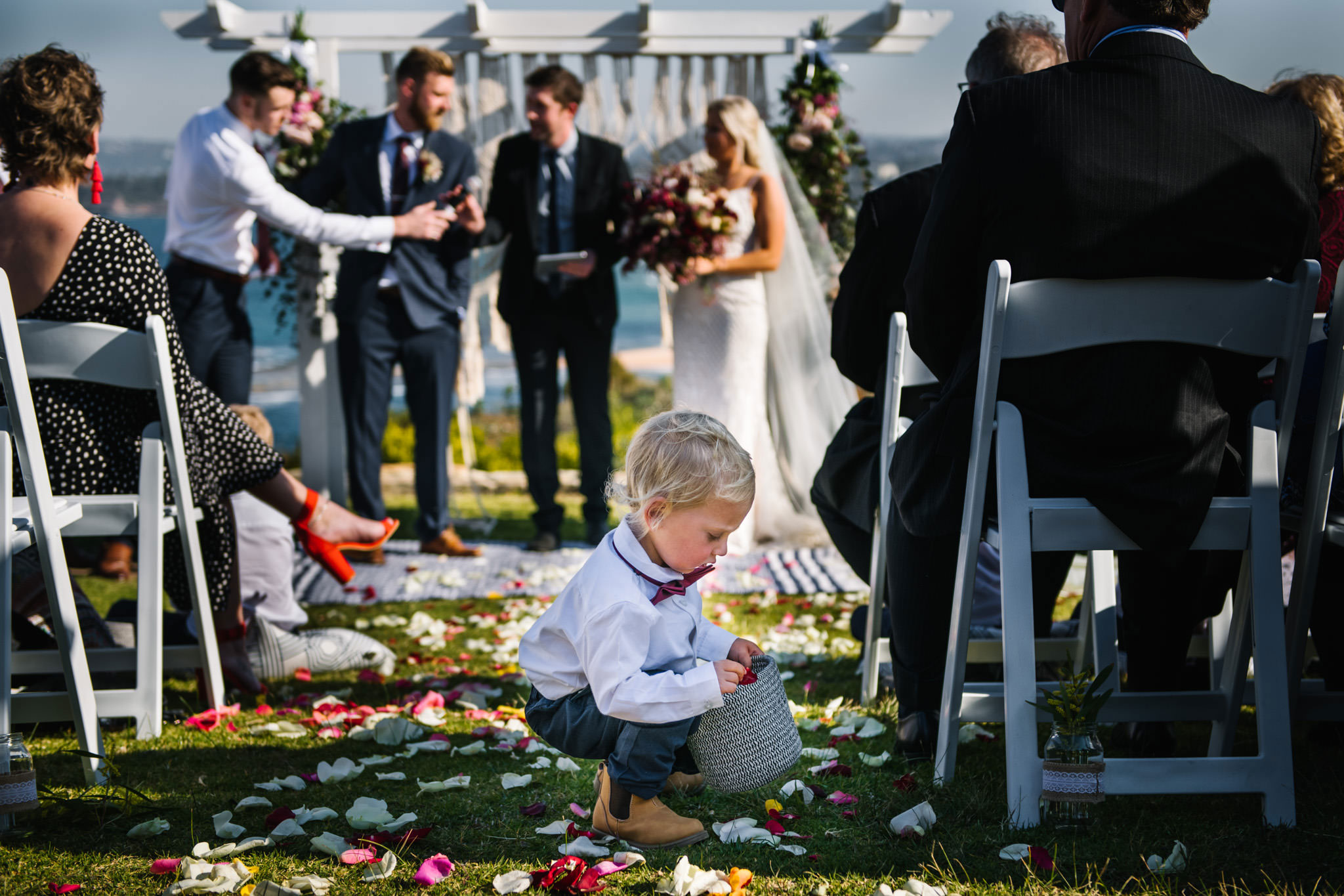 Toddler ring bearer gathers flower petals during wedding ceremony