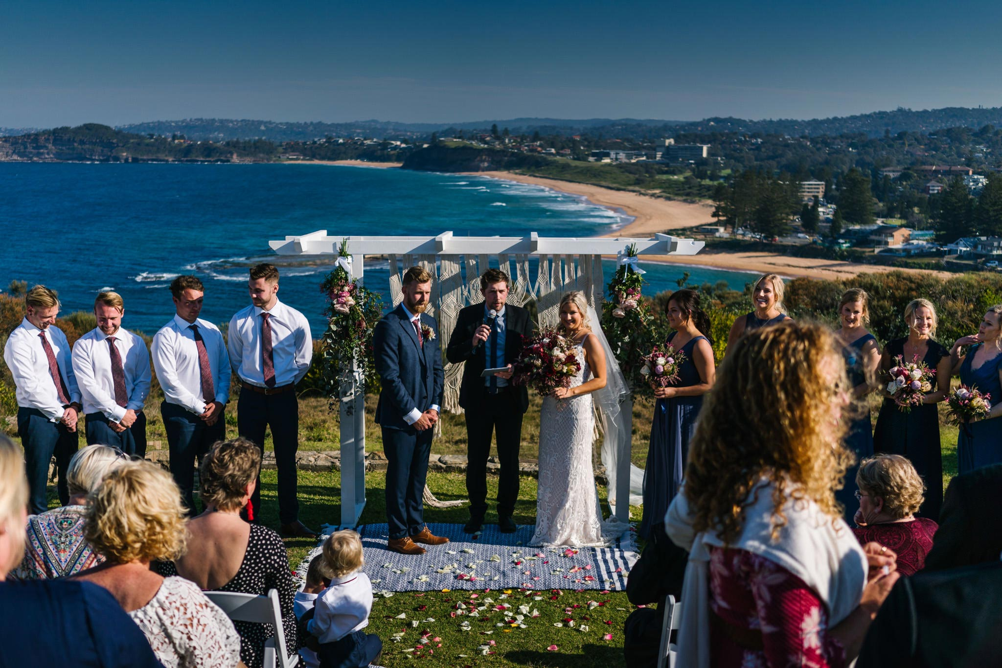 View of wedding ceremony on Northern Beaches Mona Vale headland