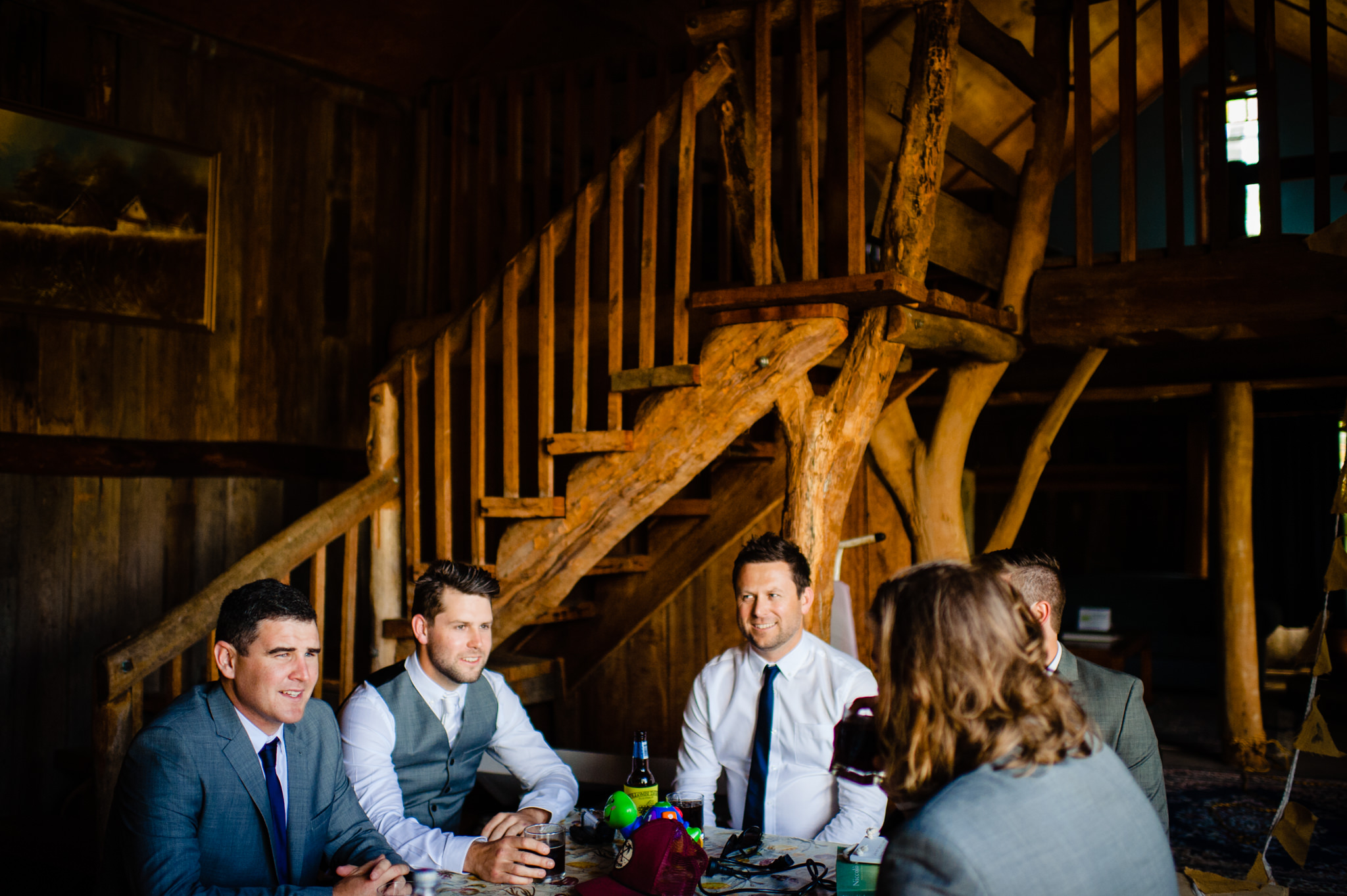 Groom and groomsmen relaxing in the barnstay at Redwood park Wollombi