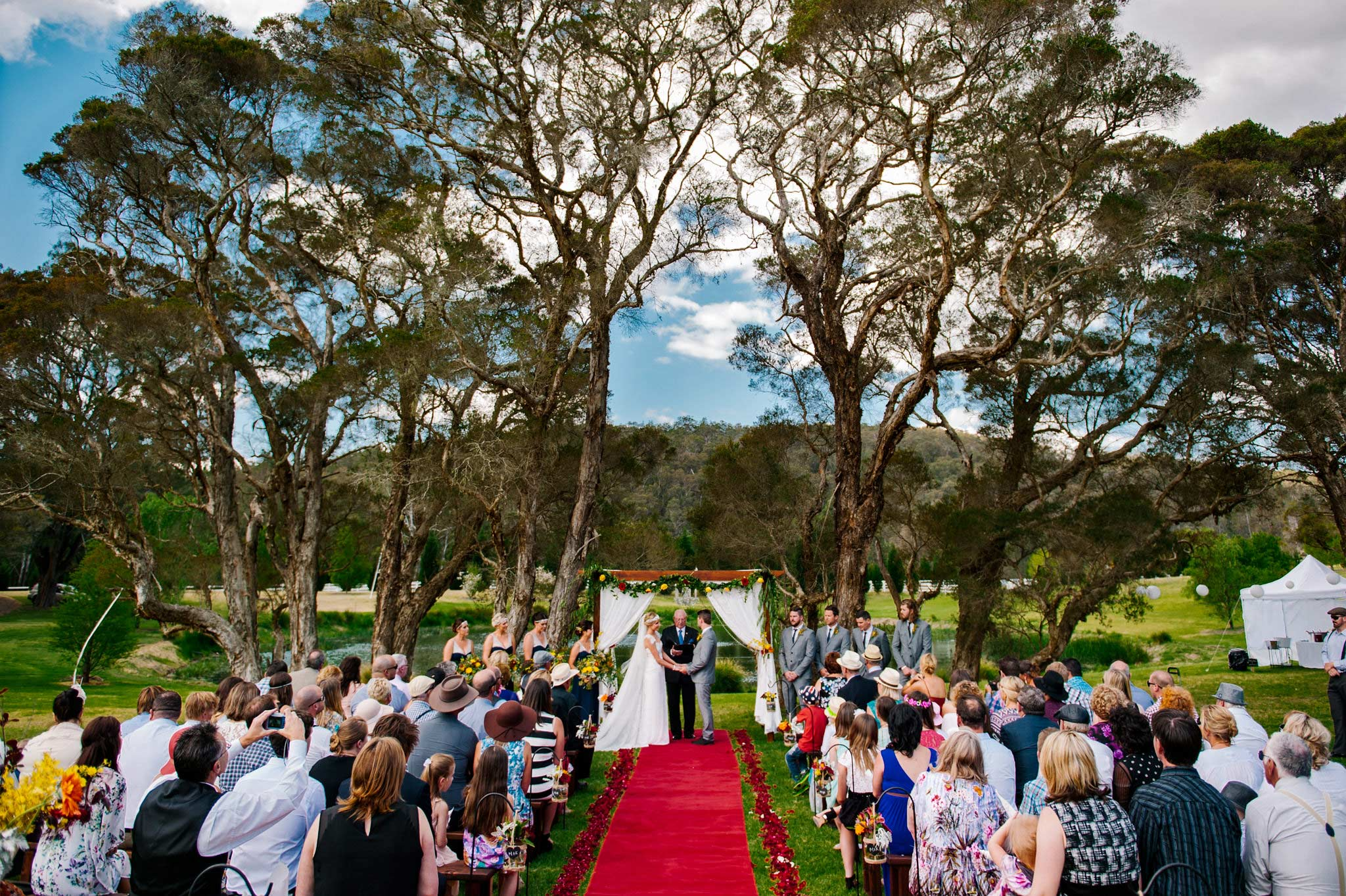 Wedding ceremony under large trees at Redwood Park Wollombi