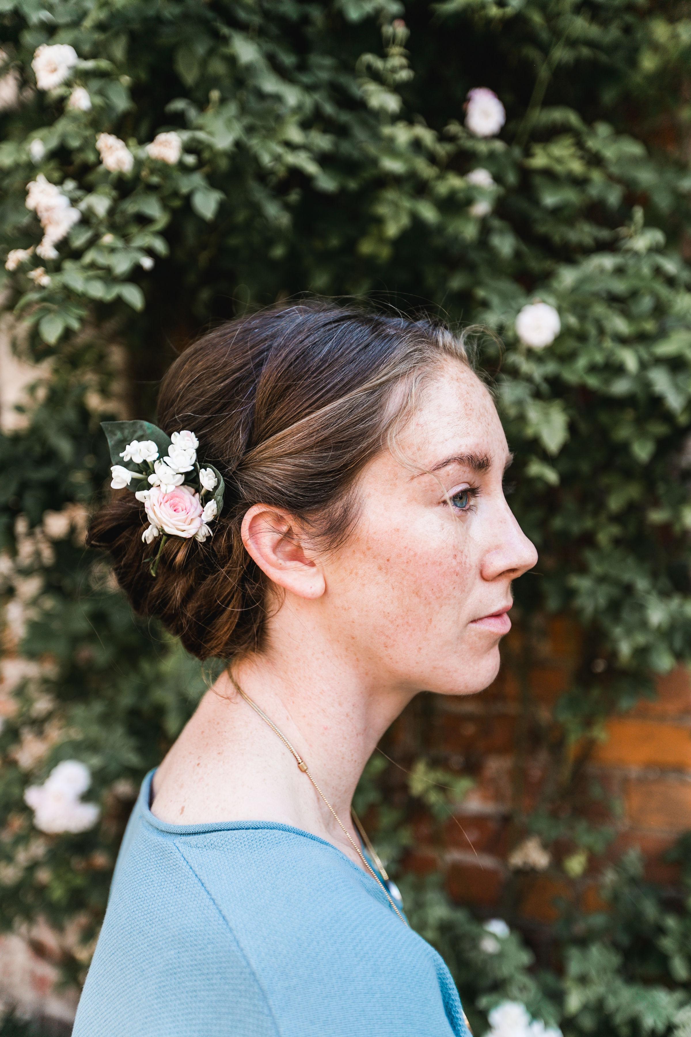 Bridal hair, destination wedding, European wedding, roses in hair, profile, fine art wedding, Germany