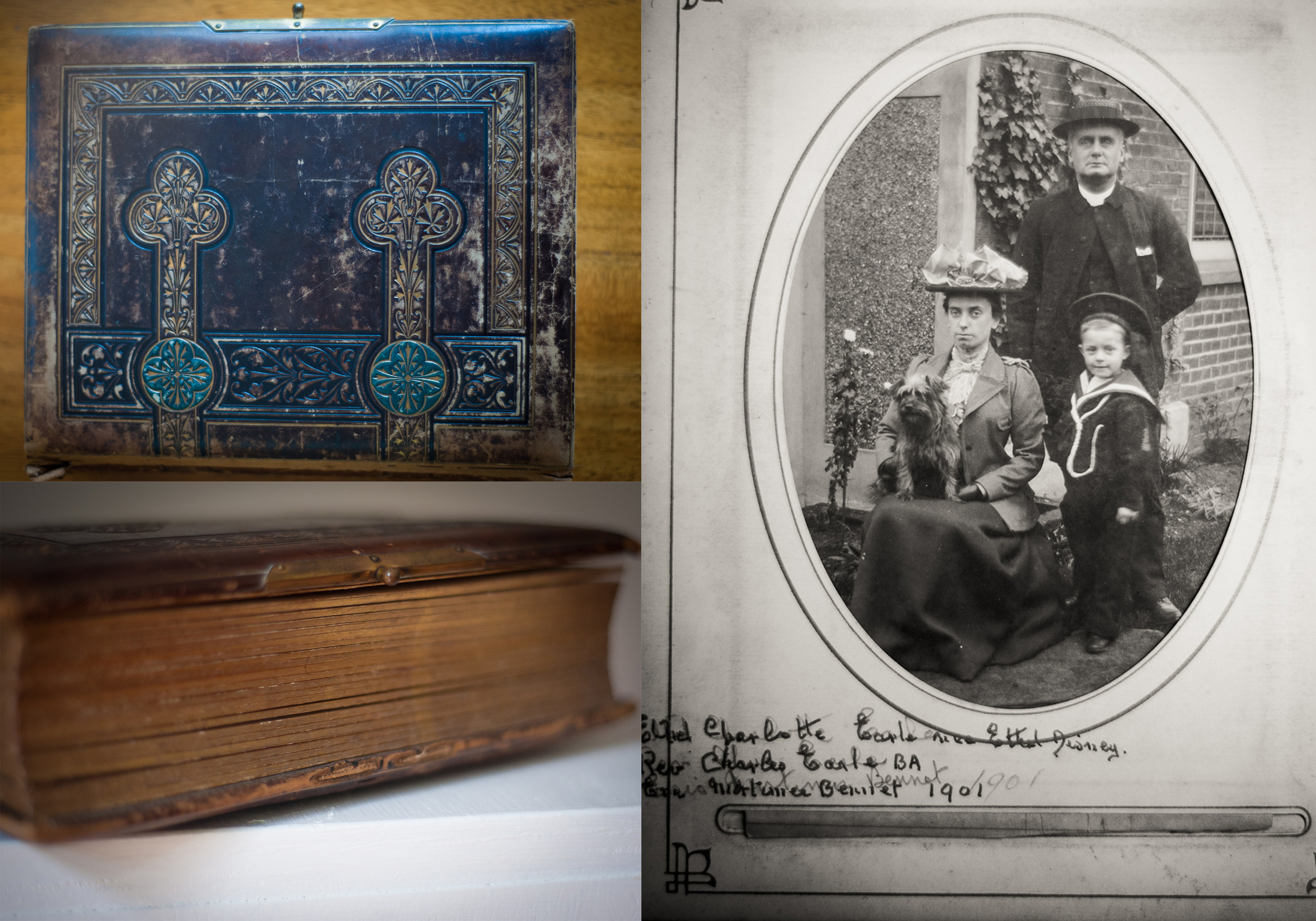 The heirlom photographic album - Victorian style and inside is my Grandfather with his cousin and husband who brought him up.  They look stern in this image but  apparently they weren't like that at all.