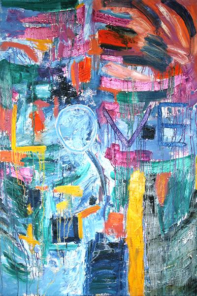 "Love, mixed media on canvas, 72x48x2"",  2005 - $2,900"