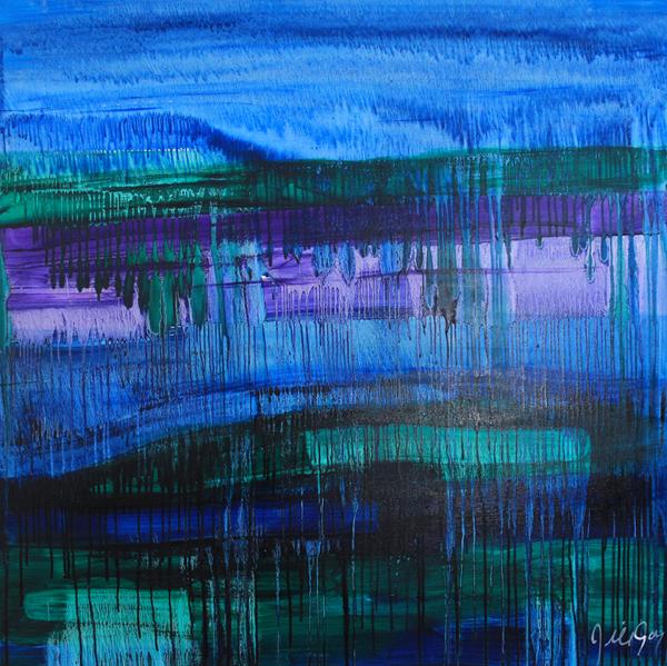 """Sale $700 Thru 4/30 - Aurora, oil on canvas, 48x48x1.5"""", 2010 -  Regularly $1,900"""