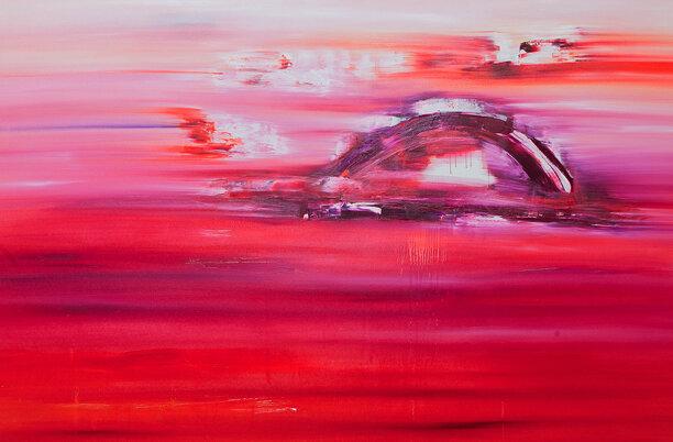 "Jill Joy - Red Dawn - oil on canvas - 45x69"""