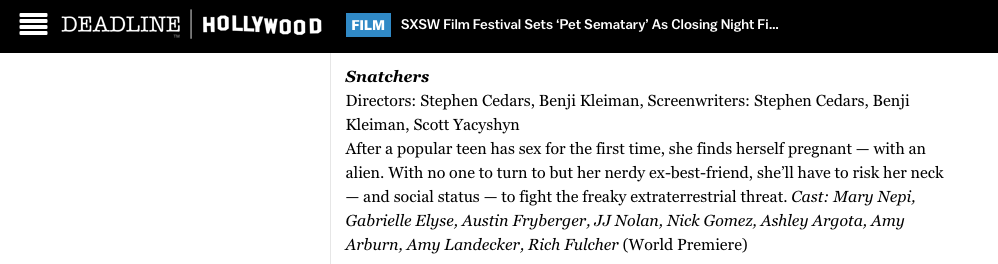 Seasons 1 & 2 of SNATCHERS will play at SXSW 2018!