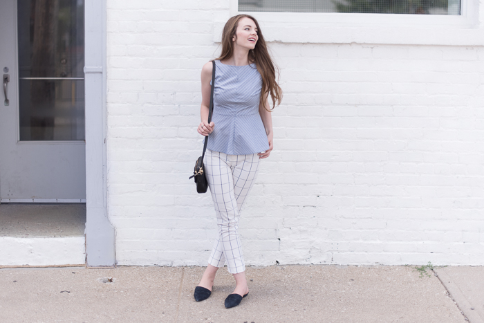 Top + Pants: Banana Republic (from past season) Slides: Nine West (from past season)
