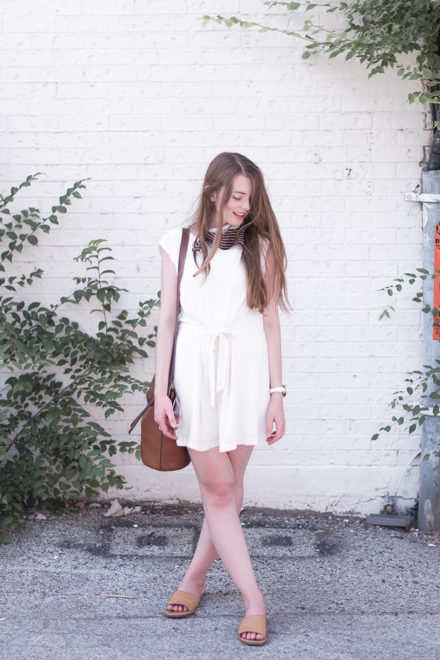 Romper:   Zara (added this summer)  |   Neckerchief     :   thrifted (added this summer) |  Slides:     Soludos