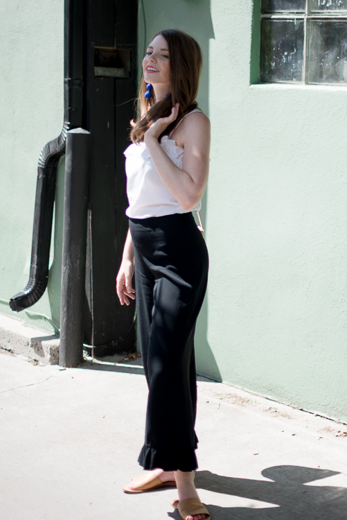 Top: Amanda Uprichard (new) Pants: Club Monaco (past season)