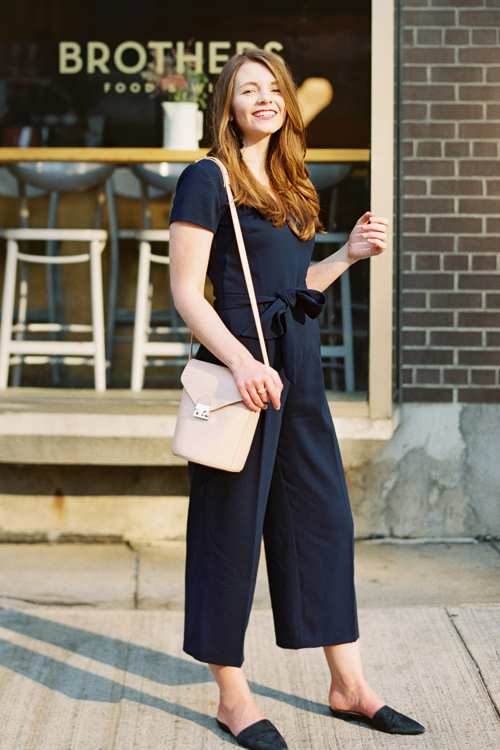 Jumpsuit: Club Monaco (new) Slides: Nine West (past season) Bag: Loeffler Randal (past season)