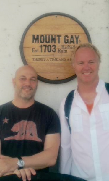 Steve Izzo (left) and Parke Ulrich (right) in Barbados at the Mt. Gay Distillery.