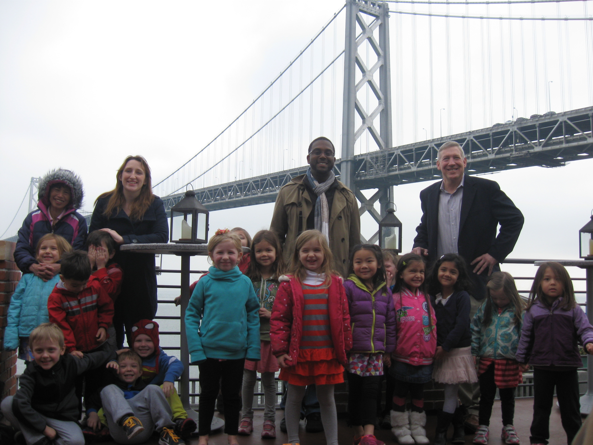 Pete at the top right with kids from Bright Horizons School here in San Francisco on a field trip to Waterbar!