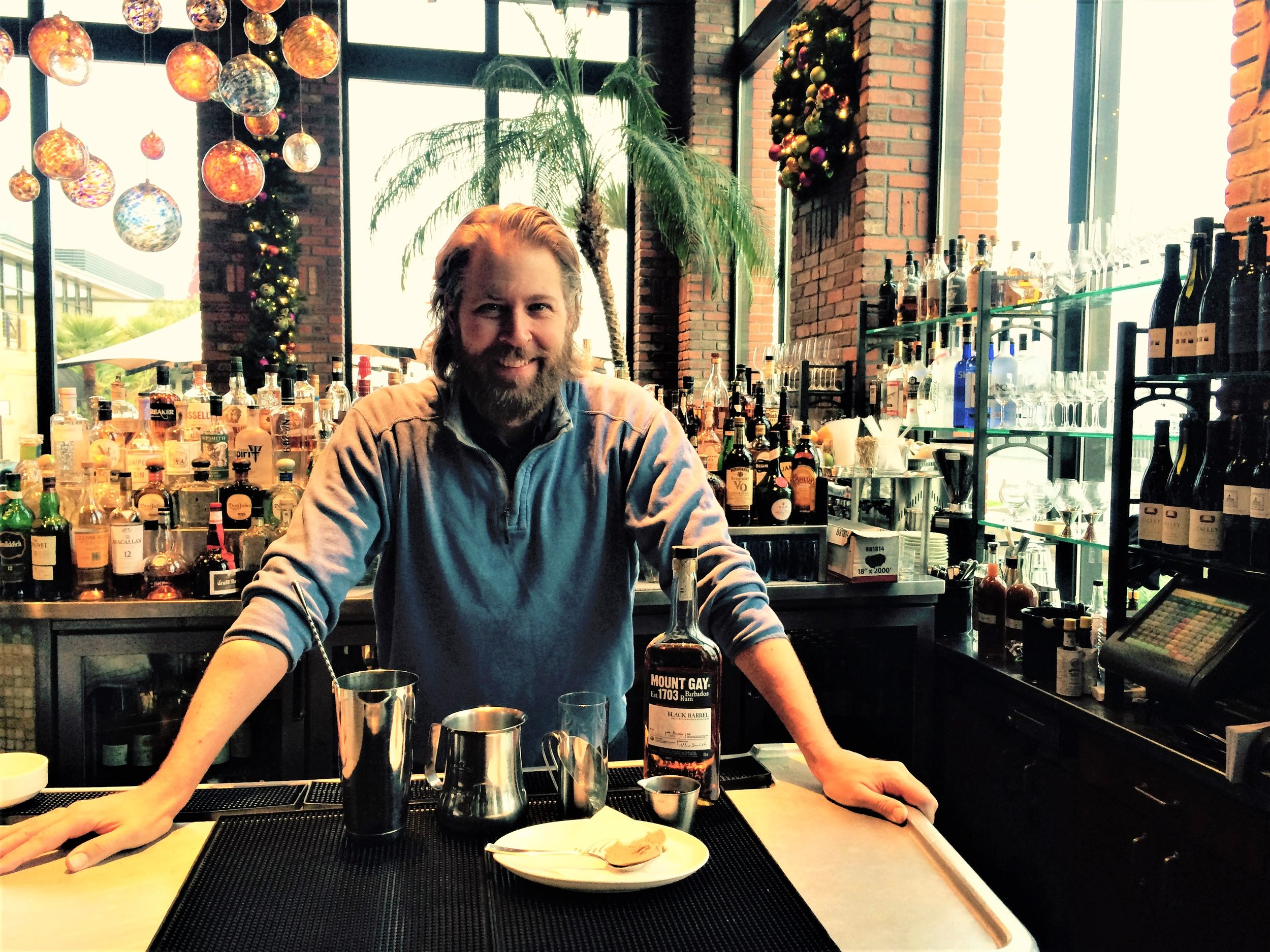 Joe Wrye with ingredients for his Hot Buttered Rum-note our Chef And Sommelier made Mount Gay Black Barrel Rum....