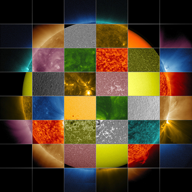 The sun as view in different wavelengths. Image:NASA/SDO/Goddard Space Flight Center