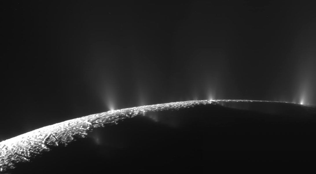 Water & ice spewing from Saturn's moon  Enceladus in this  2005Cassini spacecraft image. Credit:    NASA  /  JPL  /  SSI  ;  Mosaic:  Emily Lakdawalla