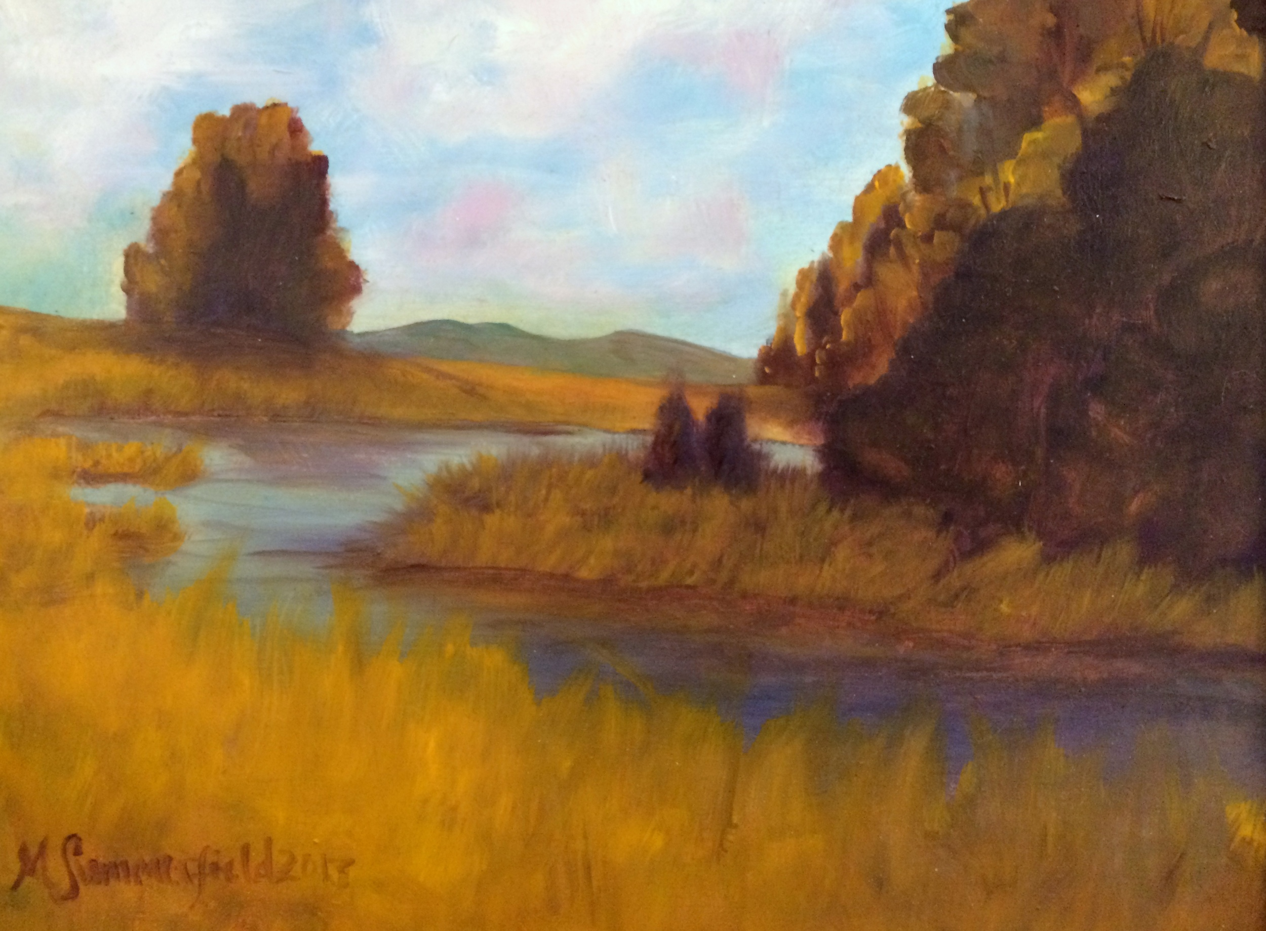 East Gallatin River, Bozeman Montana 11x14 2013. Kaden Cook Medical Benefit July 2013   Baby Kaden Cook was born with Spina Bifida and this was donated for an auction to help raise funds towards their medical bills.