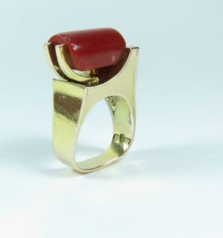 Gold Modernist Ring coral.JPG