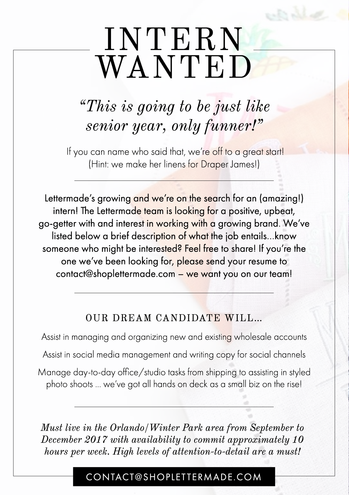 Interested in joining our team? - We're looking for an intern! Please send resumes to contact@shoplettermade.com.